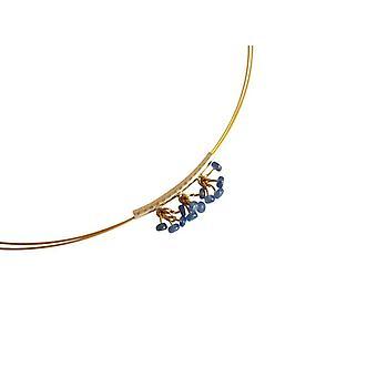 Gemshine - damer - kjede - gull belagt - safir - blå - 45 cm