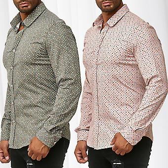 Men's Shirt Long Sleeve Casual Shirt Slim Fit Casual Crease-free Waisted Stretch