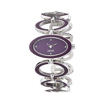Elegante Kreis Damenuhr Esprit lila Silberschmuck Stones UK Verkäufer + Garantie