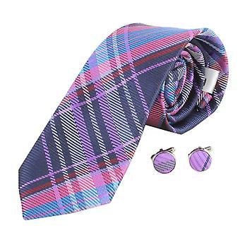 Gemelli e cravatta Check Knightsbridge cravatte Set - rosa/viola/blu