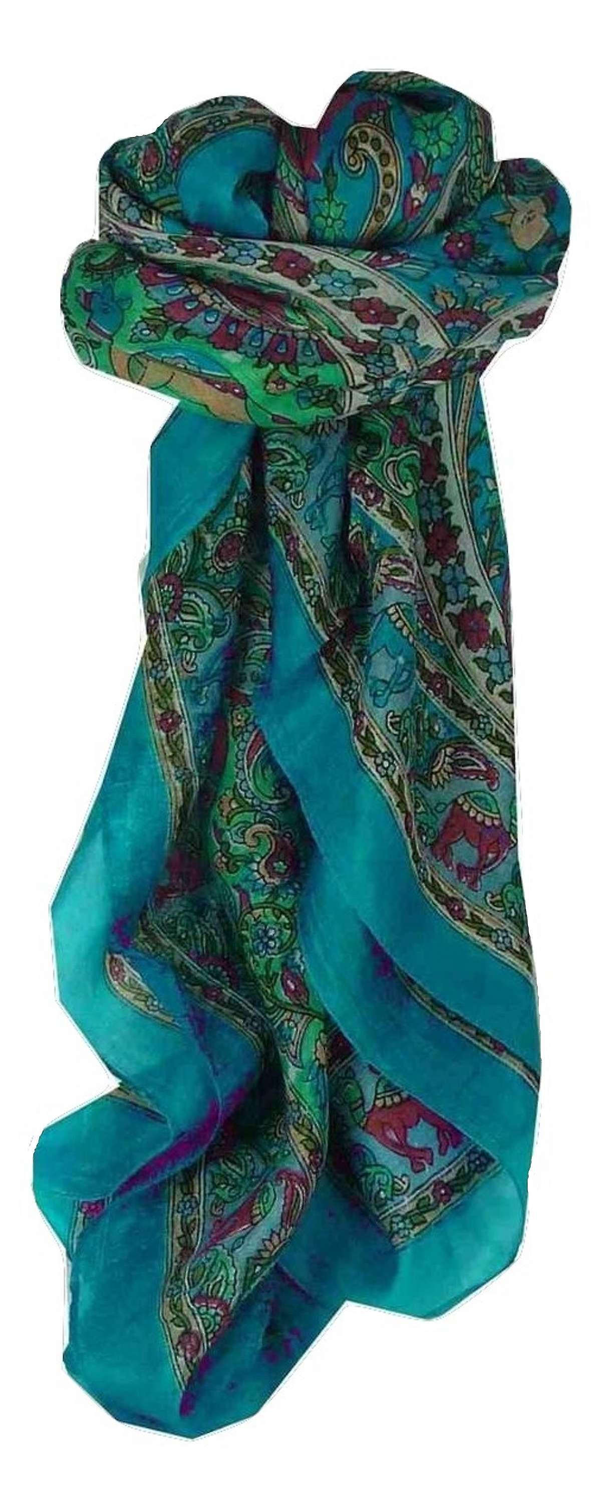 Mulberry Silk Traditional Square Scarf Kaladi Blue by Pashmina & Silk