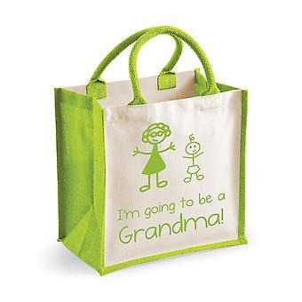 שקית יוטה ירוק בינוני אני ' אני הולך להיות סבתא