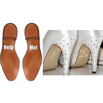 الزفاف أحذية ملصقا مجموعة مساعدة لي وأنا لا