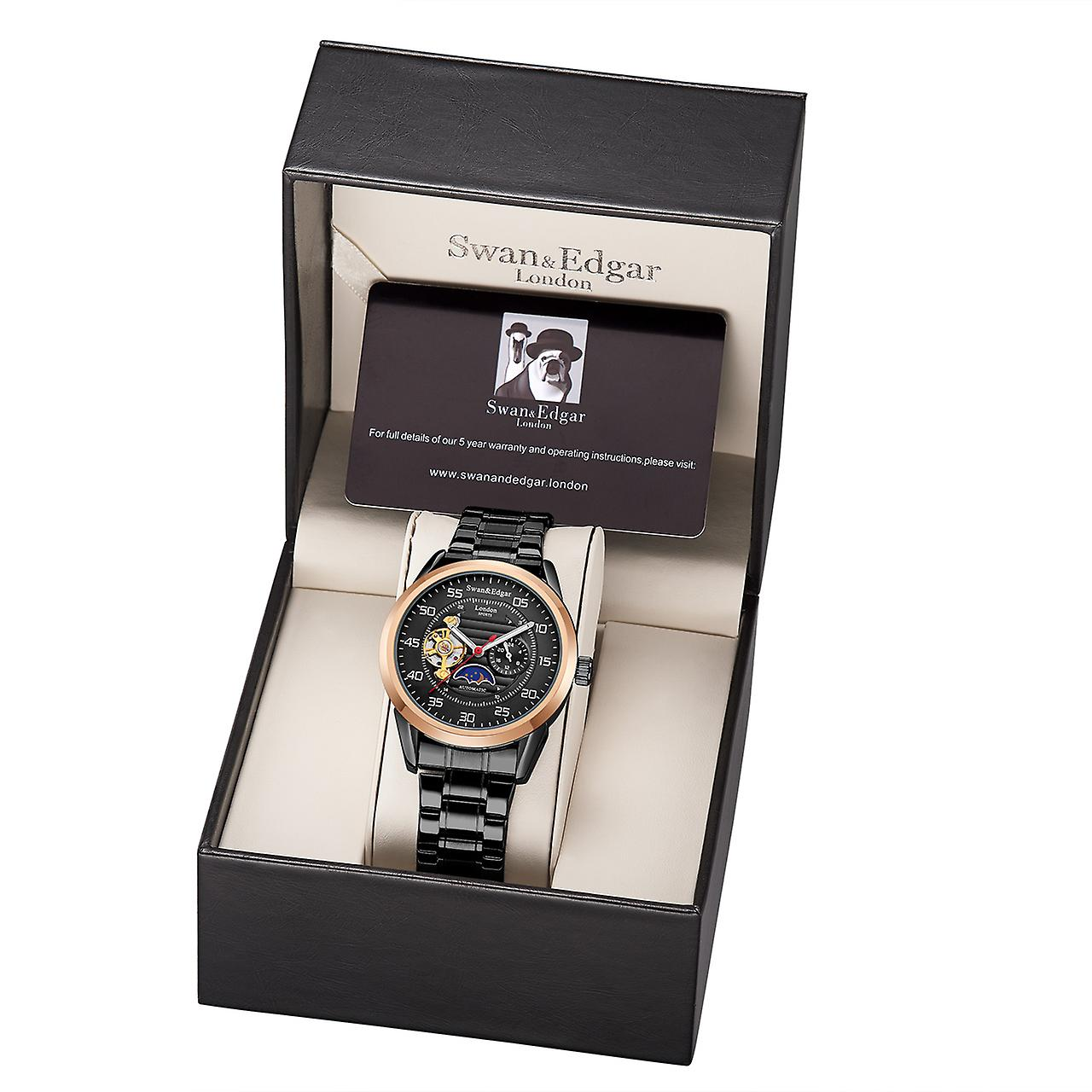 Swan & Edgar sport automatisk Black Mens Watch