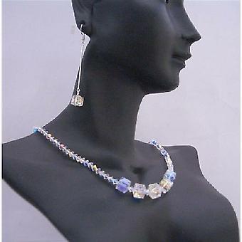 Kostki kryształy AB Handmade Biżuteria Swarovski piękny naszyjnik zestaw