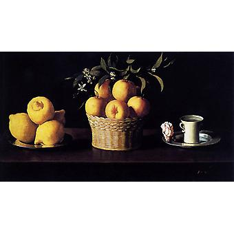 Still Life with Lemons, Oranges and, Francisco de Zurbaran, 60x33cm