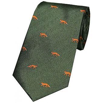 David Van Hagen ræve land silke slips - grøn/Orange