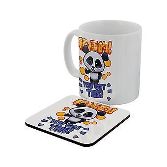 Handa Panda You Got This Mug & Coaster Set