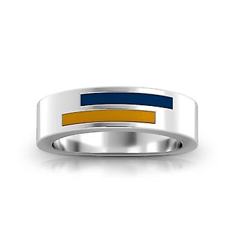 Emory Sterling University Silver Asymmetric Enamel Ring In Blue and Gold