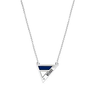 Villanova University Engraved Sterling Silver Diamond Geometric Necklace In Blue & White