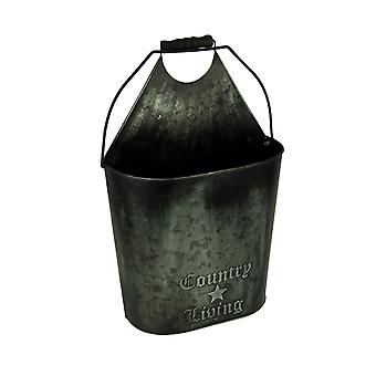 Country Living Vintage Metal Pail Hanging Toilet Paper Holder and Magazine Bin