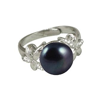 Eternal Collection Bella Perlina CZ And Black Freshwater Pearl Sterling Silver Adjustable Ring