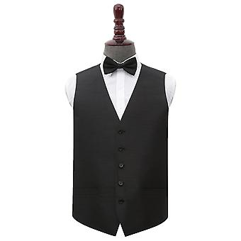 Black Plain Shantung Wedding Waistcoat & Bow Tie Set