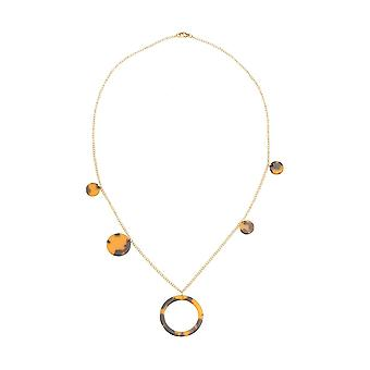 Gemshine halsband guldpläterad sköld tallrik/harts droppe 60 cm tillverkad i Spanien