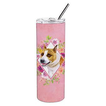 Bull Terrier Pink Flowers Double Walled Stainless Steel 20 oz Skinny Tumbler