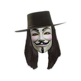 Mens V for Vendetta Black Wig Halloween Villain Fancy Dress Costume Accessory