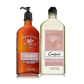 Bath & Body Works Comfort Vanilla & Patchouli Body Wash & Foam Bath and Lotion Set