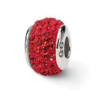 925 Sterling Silber poliert Reflexionen rot voller Kristall Perle Charme