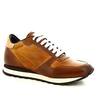Leonardo Shoes Men's handgemaakte veterschoenen in delav brandy kalfsleer