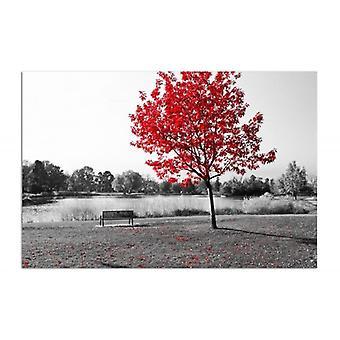 Panel Deco, hojas rojas en un árbol