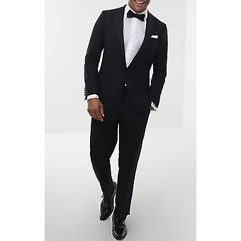 Doball Mens Black 2 stuk Tuxedo Fit Regular 100% wol Notch revers