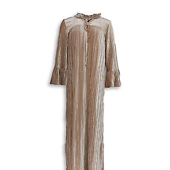 Bob Mackie Women's Robes Pleated Velvet With Ruffle Beige A344980