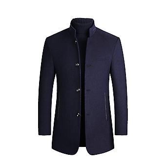 Allthemen Men's Solid Single-Breasted Thick Warm Business Casual Overcoat