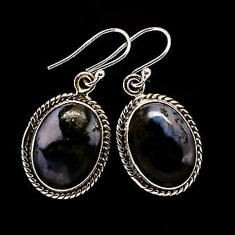 "Gabbro Stone Earrings 1 1/4"" (925 Sterling Silver)  - Handmade Boho Vintage Jewelry EARR392539"