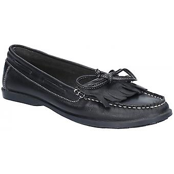 Hush Puppies Coco Moccassin Ladies Leather Loafers Black