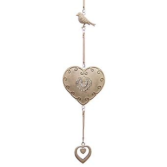 Metal Hanging Heart and Bird Decoration