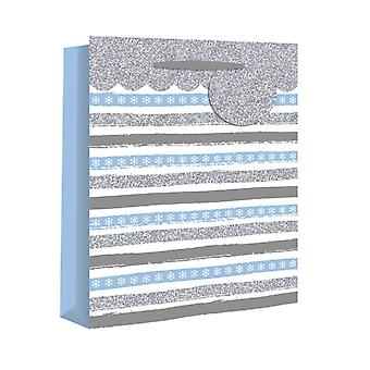 Eurowrap Christmas Gift Bags with Blue Stripe Design (Pack of 12)