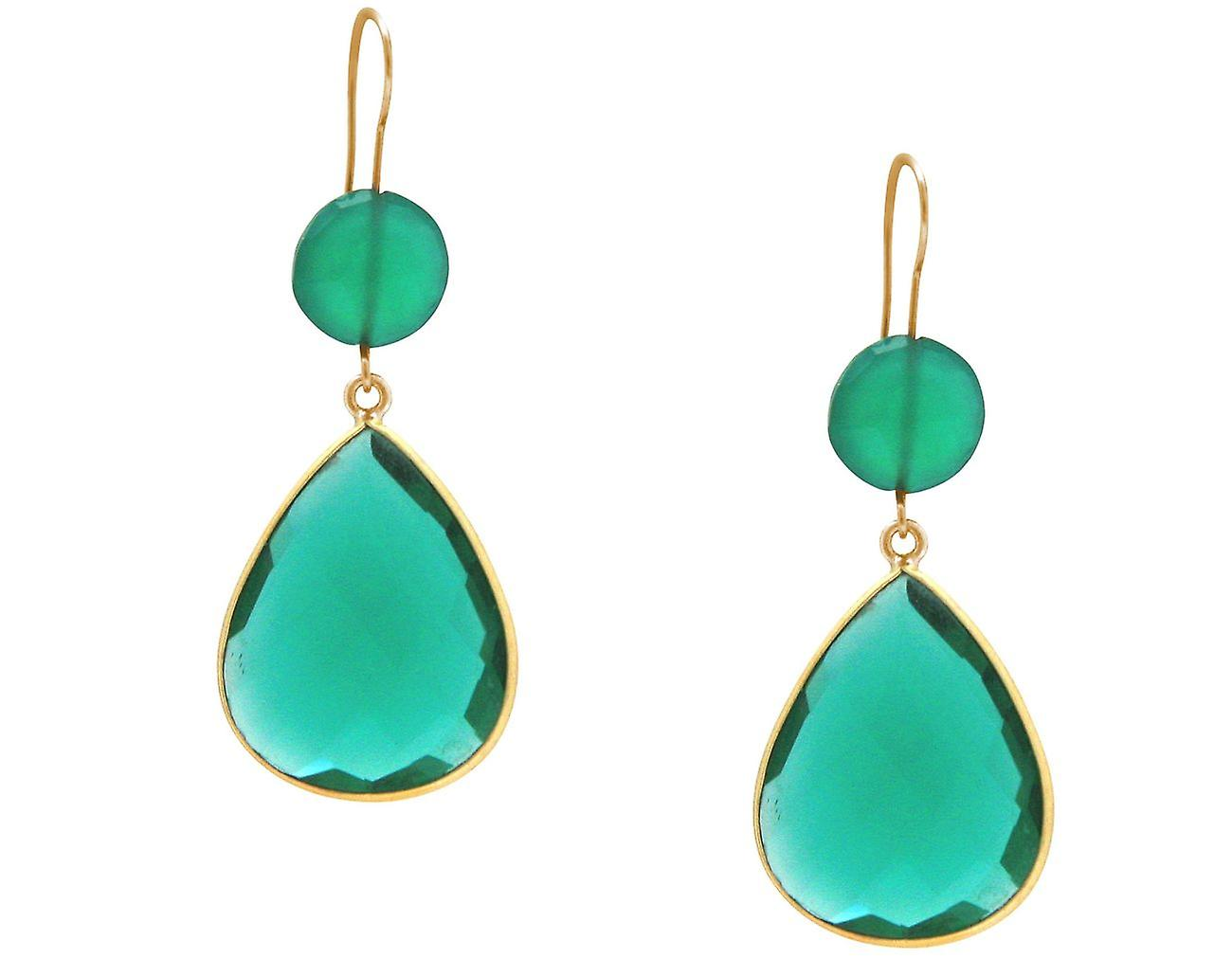 Gemshine Ohrringe Chalcedon grün und Turmalin Quarz Tropfen 925 Silber vergoldet