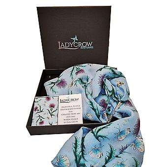 Silk Chiffon Thistle Collection Scarf by Ladycrow Scotland - Blue