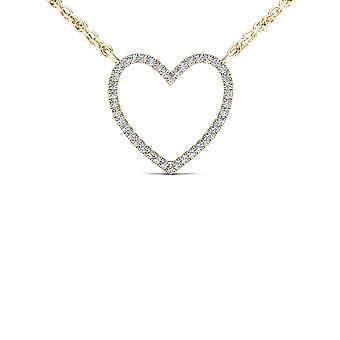Igi certified solid 10k yellow gold 0.10ct diamond bold heart pendant necklace