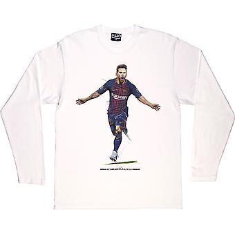 Lionel Messi -Quot;The Record Breaker-quot; White Long-Sleeved T-Shirt