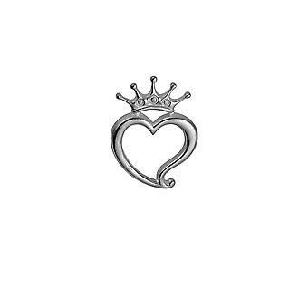 Silver 24x32mm Luckenbooth Heart and Crown Brooch