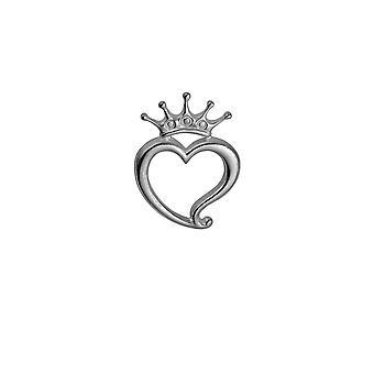 Sølv 24x32mm Luckenbooth hjerte og Crown Brooch