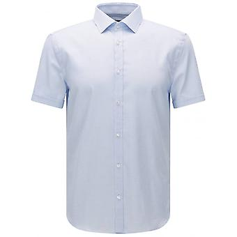 هوغو بوس محكم الجات القصيرة الأكمام سليم صالح الخفيفة القميص الأزرق