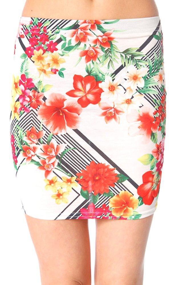 Davina Floral Bodycon Mini Skirt In