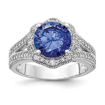 Cheryl M 925 Sterling Silver Purple Color CZ Cubic Zirconia Gesimuleerde Diamond en White Cubic Zirconia Ring Sieraden Cadeau