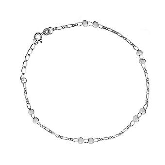 925 Sterling Silver Rhodium Plated Figaro Chain Double Bead Station Anklet 10 Inch Jewelry Gifts for Women