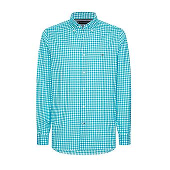 Tommy Hilfiger Slim Fit Gingham Shirt Aquatic Teal