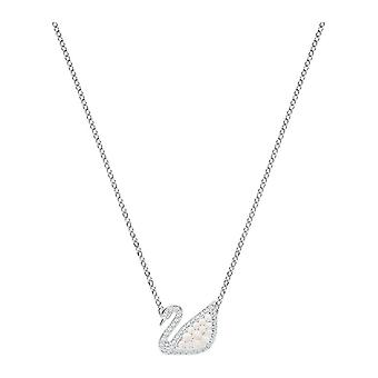 Swarovski Iconic Swan Rhodium Plated With Clear Crystal & Pearl Necklace 5416605