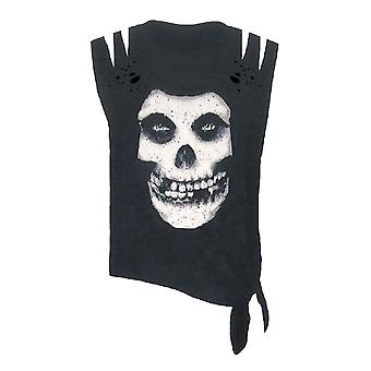 Misfits T Shirt Skull logo distressed Acid Wash slashed shoulders Sleeveless
