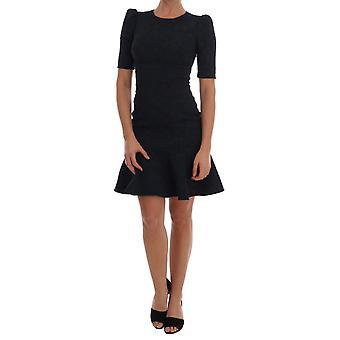 Dolce & Gabbana Black Blue Flare Mini Dress