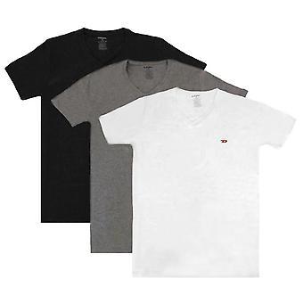 Diesel Umtee Michael V Neck 3 Pack T-Shirt - Black/Grey/White