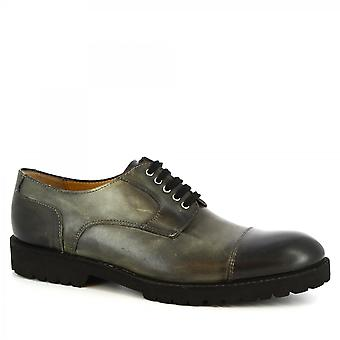Leonardo Shoes Men's handmade classy oxford shoes in gray calf leather