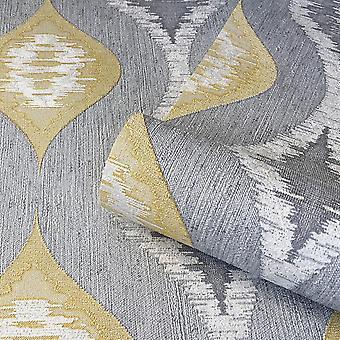 San Marino Geometric Motif Wallpaper Grey Yellow White Glitter Textured Vinyl