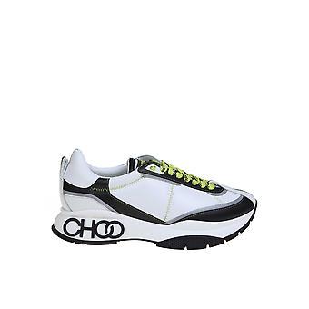 Jimmy Choo Rainemzagwhite Men's Wit/zwarte Fabric Sneakers