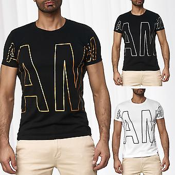 Men Round Neck T-Shirt Printed Casual Design Top Cool Stylish Print